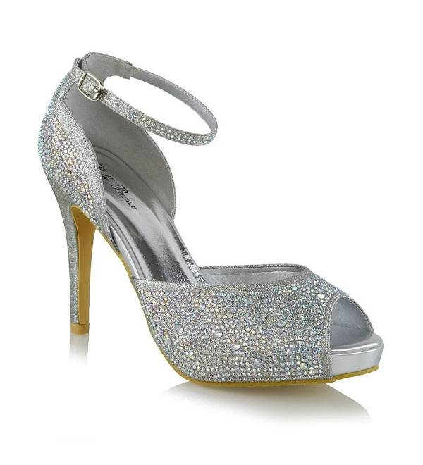 6ee9895861 Womens Peep Toe Heels Rhinestone Bridal High Heel Ankle Strap Pump ...