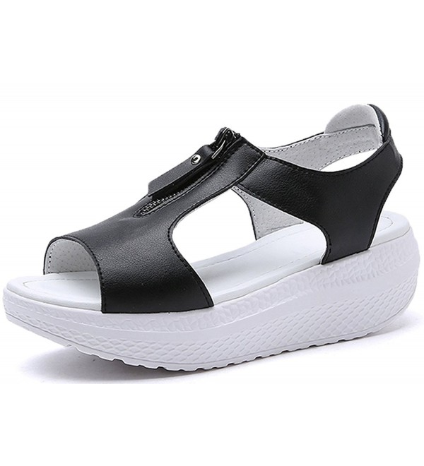 JARLIF Leather Platform Sandals Walking