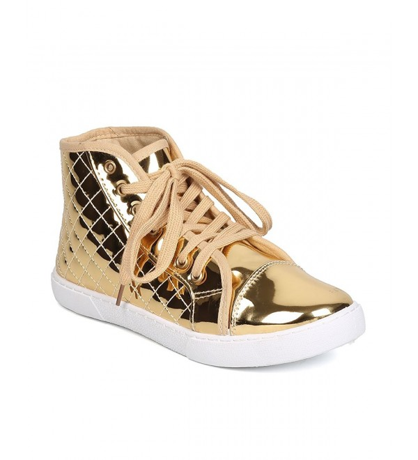 Qupid Metallic Leatherette Quilted Sneaker