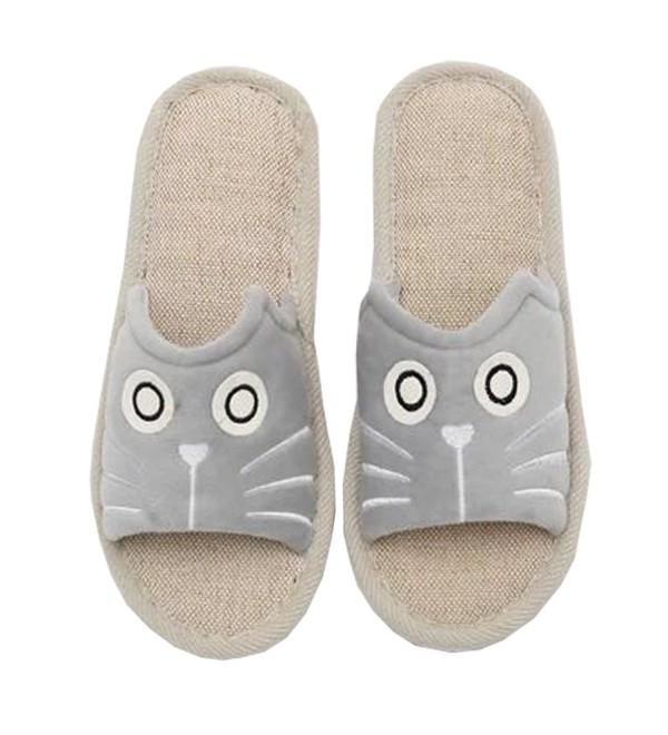 f819e5898 Women s Cute Animal Summer Linen Slippers Open Toe Non-Slip Rubber ...