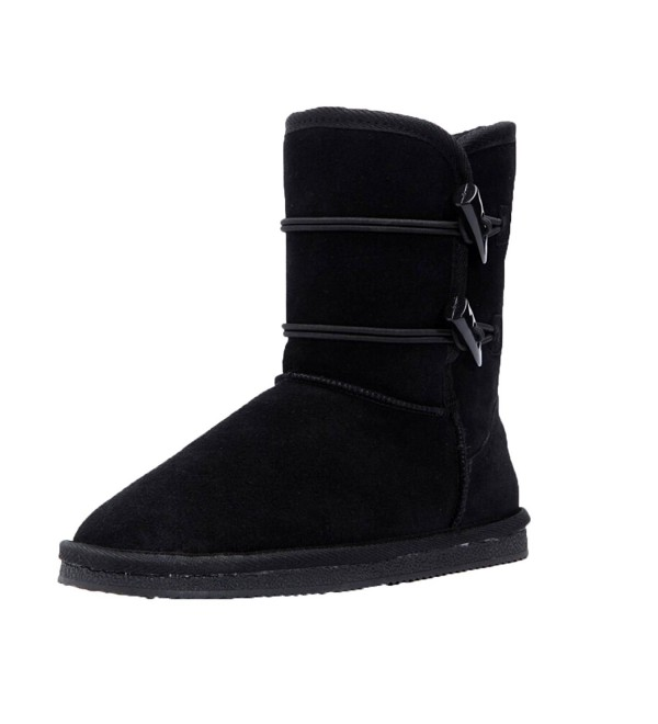 Womens Black Suede Leather Boots