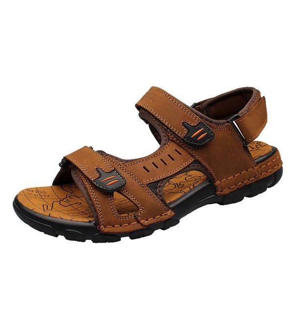 Casual Athletic Leather Sandals 16821Brown44