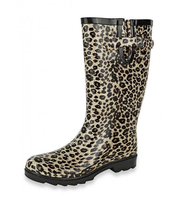 AccessoWear Womens Leopard Rain Boots