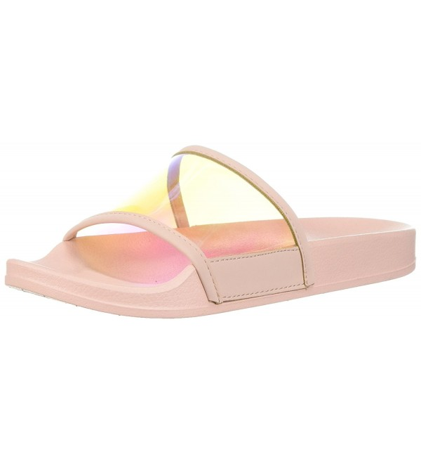 Qupid Womens Slide Slipper Iridescent