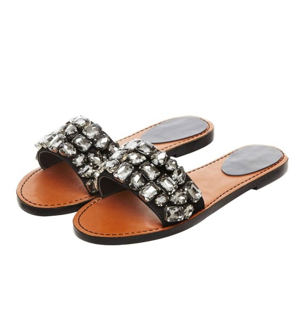 Mavirs Womens Crystals Slippers Sandals