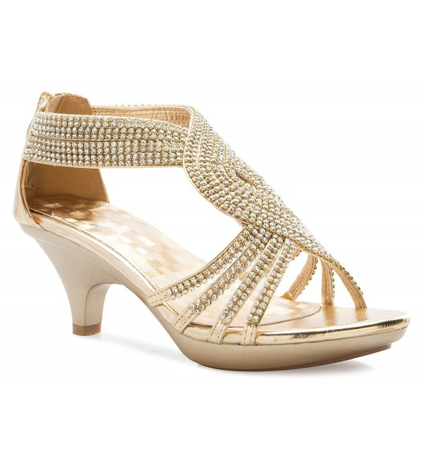 48e4142f0 Women s Open Toe Strappy Rhinestone Dress Sandal Low Heel Wedding ...