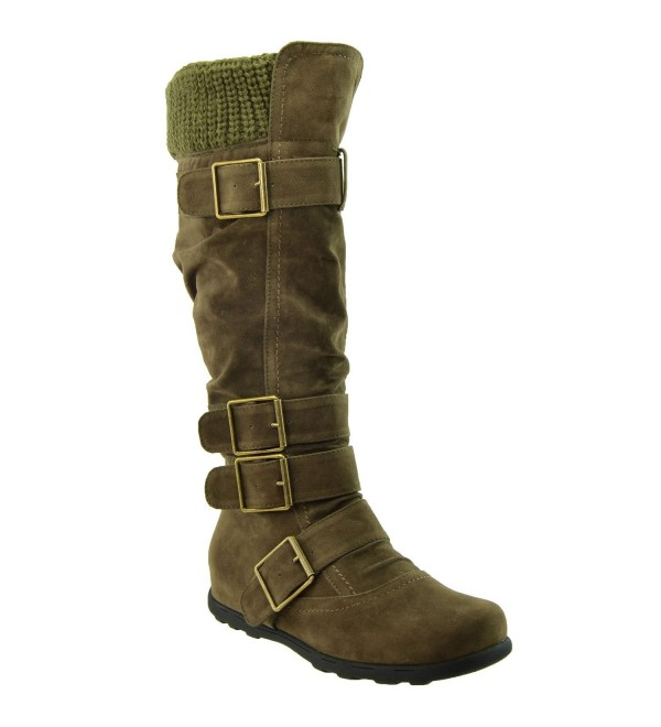 Womens Boots Ruched Suede Knitted