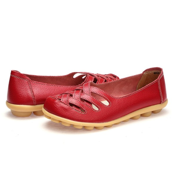WQINSHOE Leather Loafers Moccasins Driving