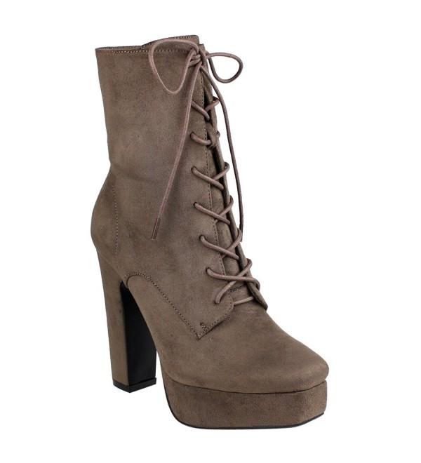Beston Womens Zipper Platform Booties