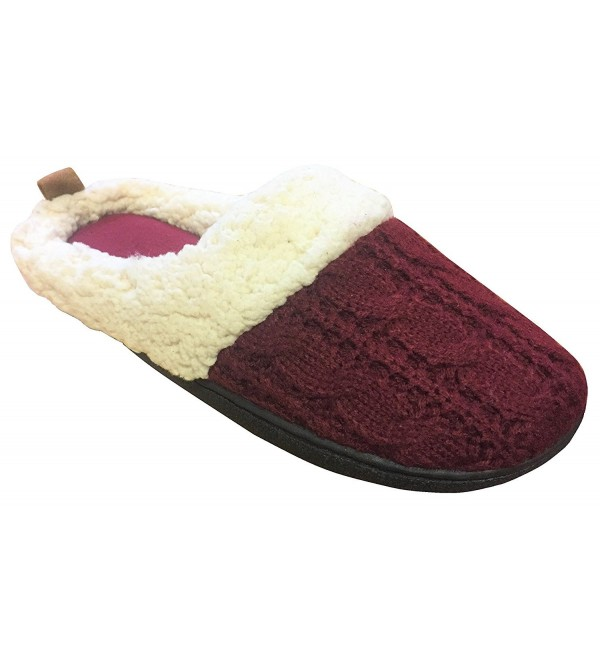 Womens Dearfoams Cable Slippers Cabernet