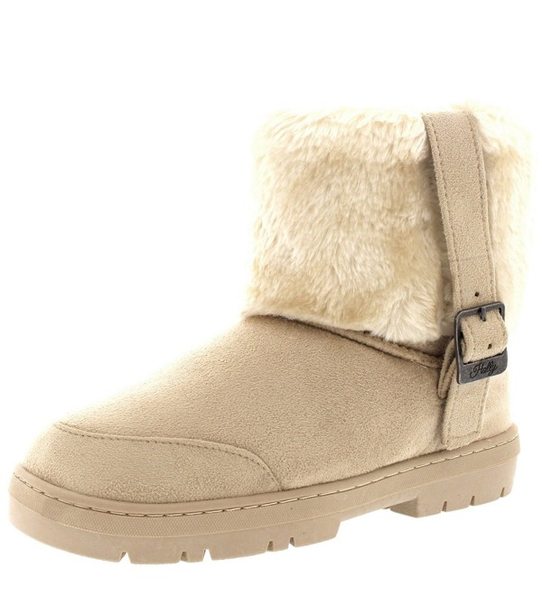 Womens Buckle Ankle Winter Boots