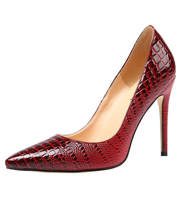 AOOAR Womens Embossed Pointed Crimson
