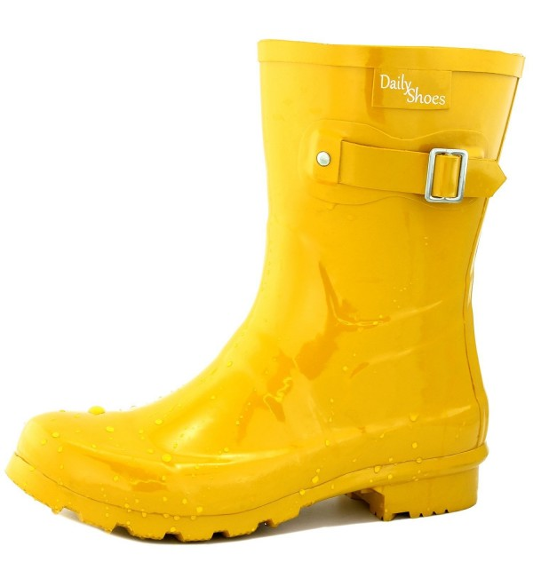 DailyShoes Womens Buckle Hunter Rainboots