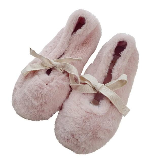 Womens Comfort Fleece Ballerina Slippers