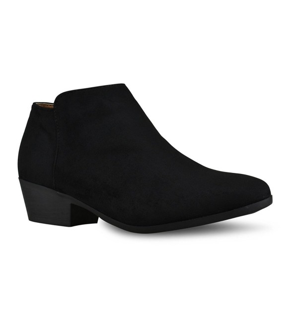 Womens Round Stacked Western Bootie