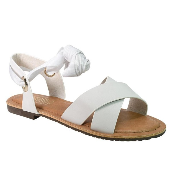 Angelina Womens Leather Grosgrain Sandals