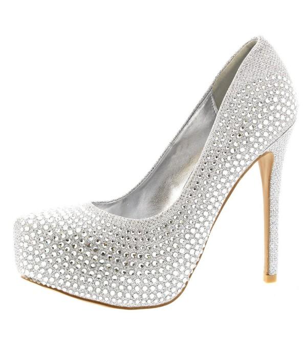 Womens Evening Platforms Stiletto Diamante