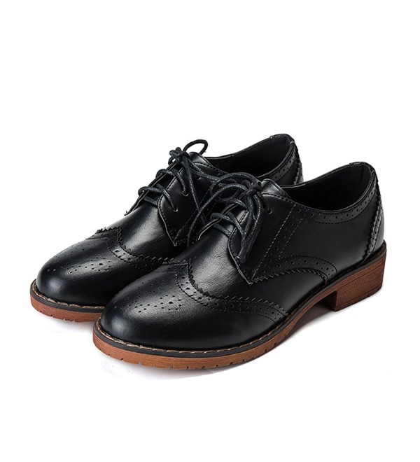 Meeshine Perforated Lace up Wingtip Leather