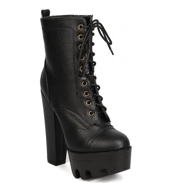 b2ed803232a Women's Lugged Sole High-Heel Combat Boot - Black - CV187CRK947
