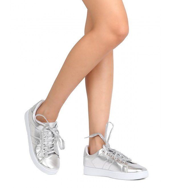 Refresh Women Metallic Leatherette Sneaker