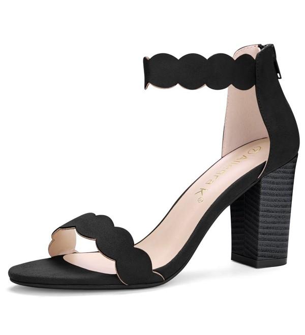 Allegra Womens Scalloped Block Sandals
