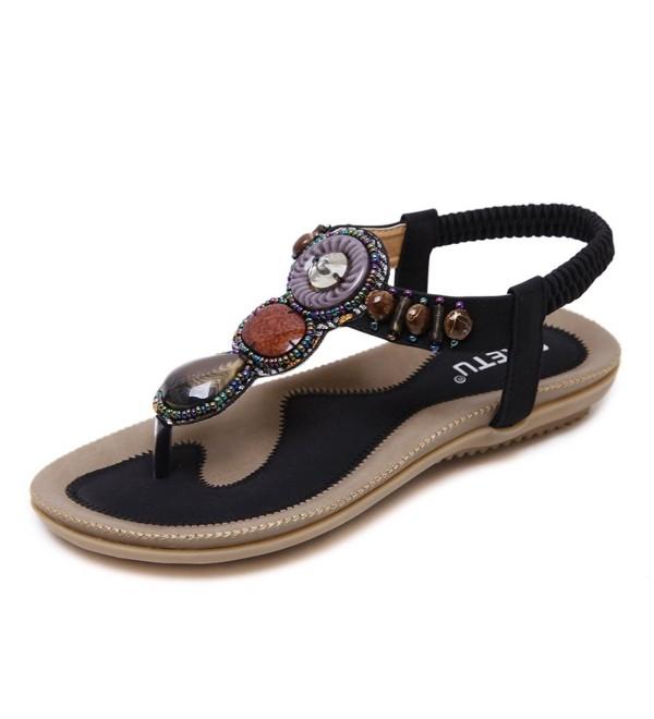 MAKEGSI Beading Bohemian T Strap Sandals