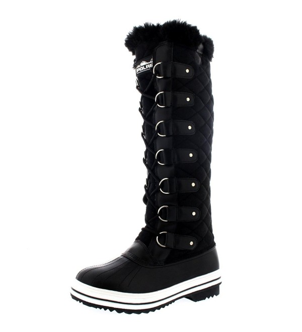 Womens Quilted Knee Winter Boots