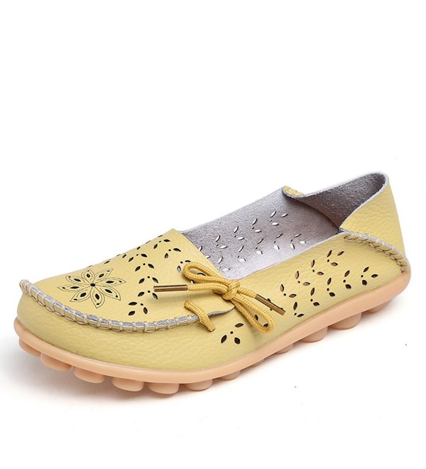 Lucksender Carving Leather Driving Loafers