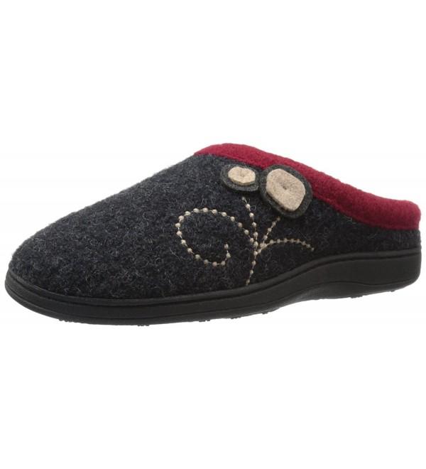 Womens Slipper Charcoal Button 6 5 7 5