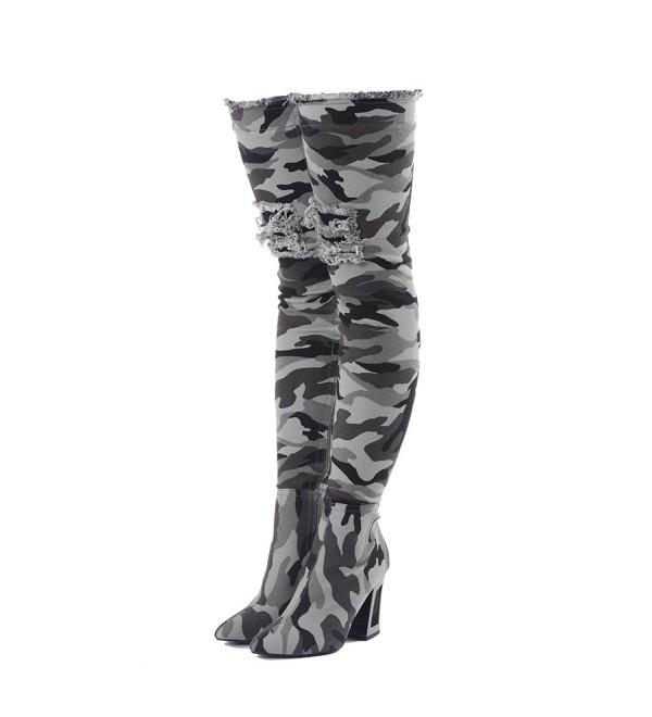 Onlymaker Camouflage Pattern Meatal Overknee