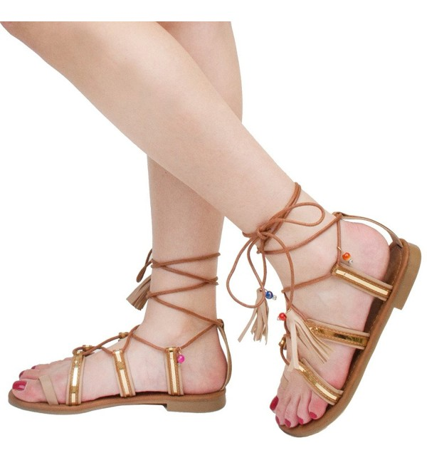 Womens Gladiator Strappy Sandals Taupe C