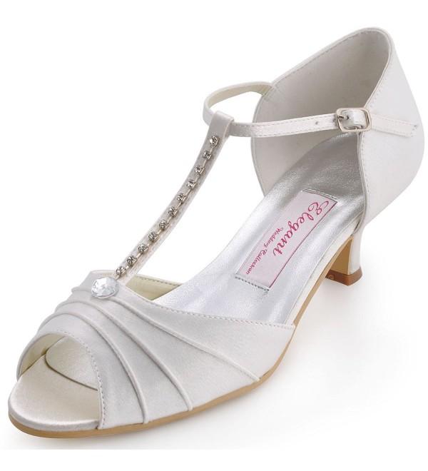 ElegantPark T Strap Rhinestones Wedding Sandals