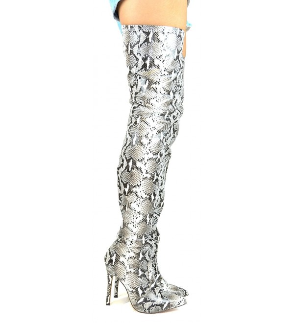 2713a512ff8 Hokkaido-3 Slim Heel Side Zipper Women s Snake Thigh High Boot ...