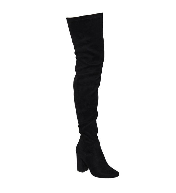 Womens Thigh Boots Stretchy Chunky