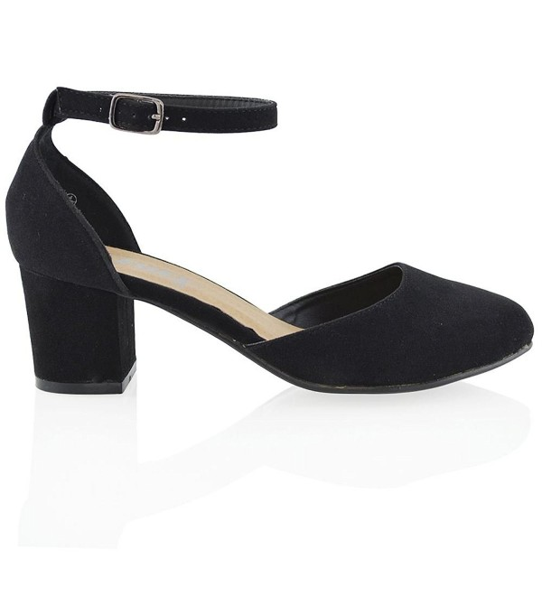 0e2d5191fb1d Womens Synthetic Low Mid Block Heel Ankle Strap Court Shoes - Black ...