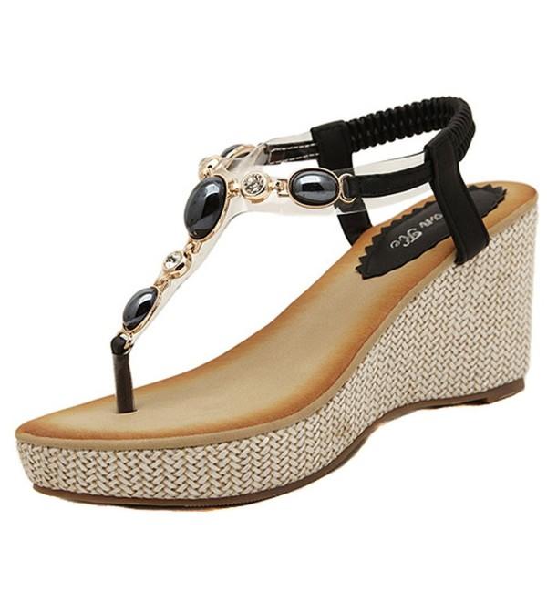Womens Gemstone Leather Platform Sandals