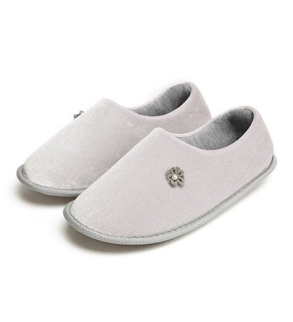 21e0622cc5e32 Women Comfort Memory Foam Indoor Slippers Cotton Non-Slip Sole House Shoes  - Grey - CL18C98KQ7Q
