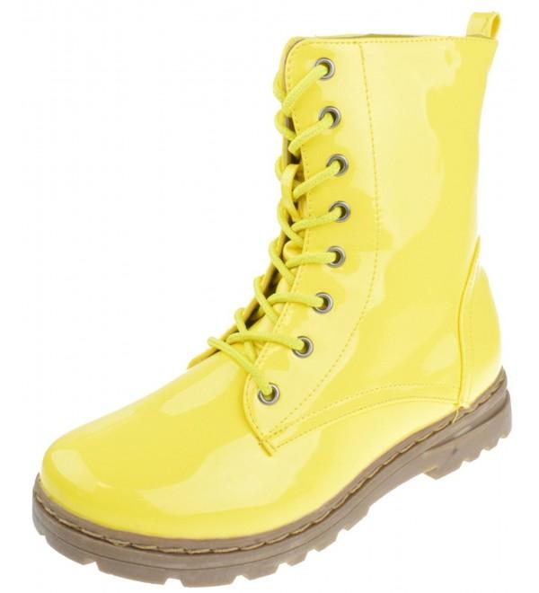 Womens Patent Milatary Combat Yellow