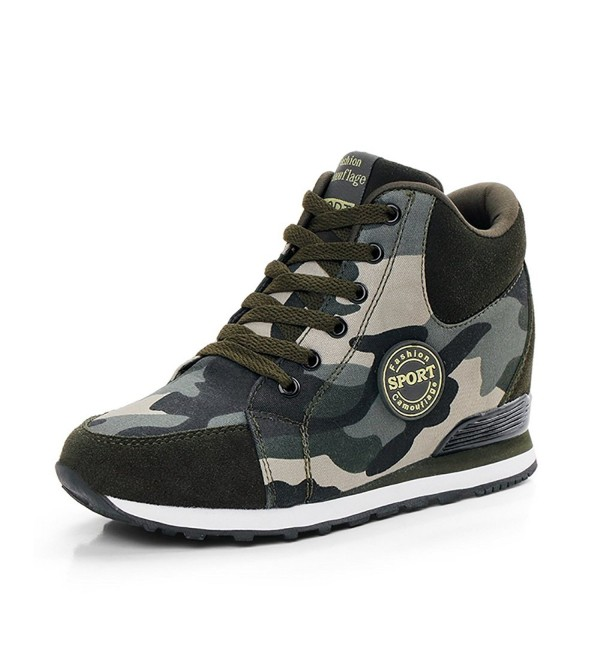 Womens Camouflage High Heeled Sneakers Increase