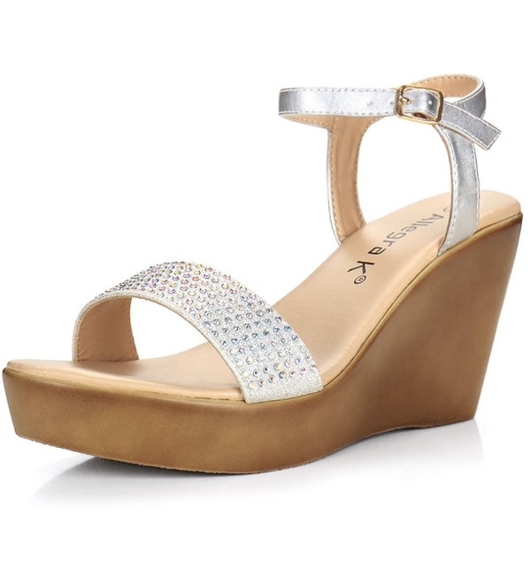 Allegra Rhinestones Embellished Sandals Silver