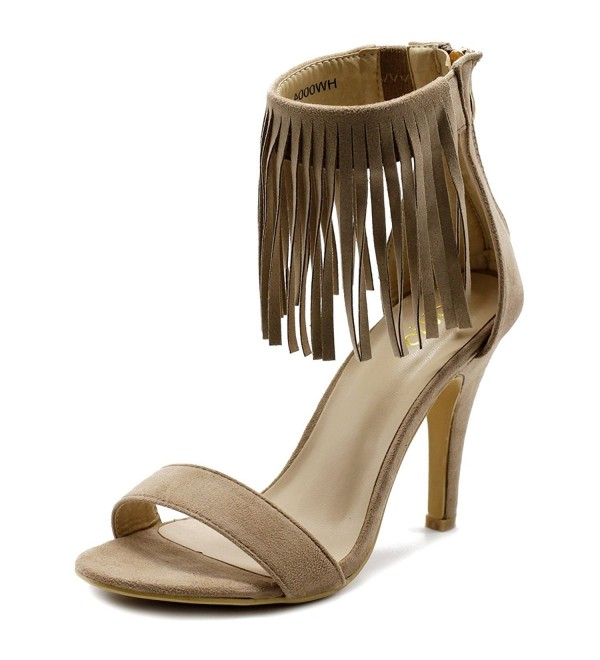 Ollio Womens Fringe Ankle Sandals