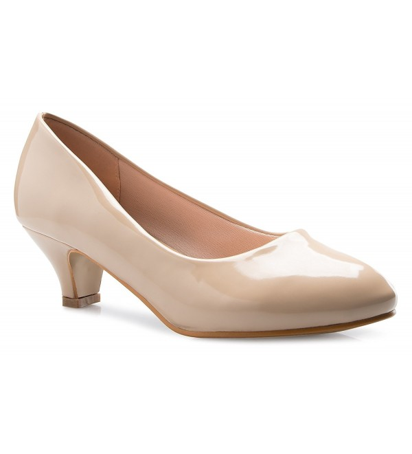 c00002040723c Women's Classic Closed Toe Kitten Heel Pumps | Dress- Work- Party Low  Heeled - Beige Patent - CH187GNNQ2U