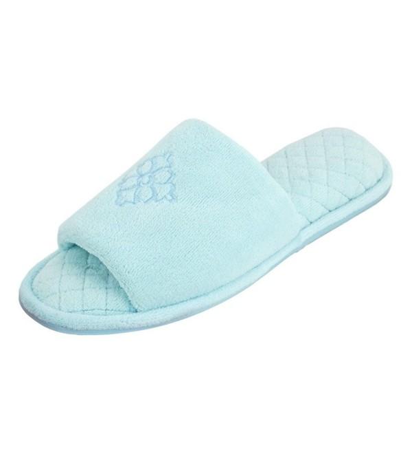 Dearfoams Womens Open Toe Embroidered Slipper