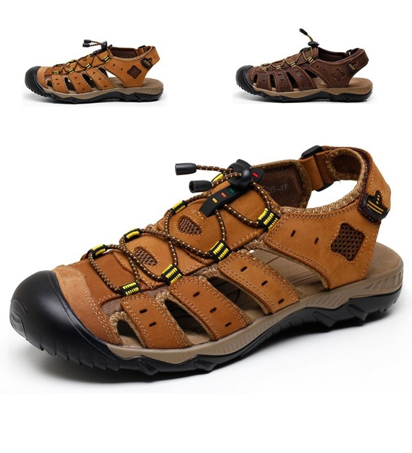 CIOR SPLX041 LBrown 46 Mens Leather Sports Sandals Summer Outdoor Fisherman Breathable Sport Beach Sandals
