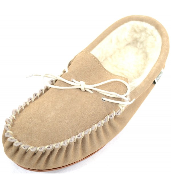 SNUGRUGS Beige Sheepskin Moccasins Rubber