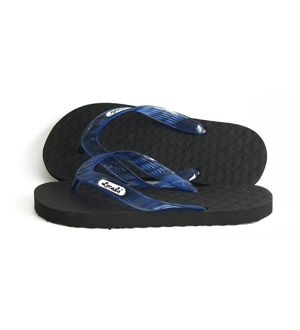 Locals Black Blue Strap Slipper