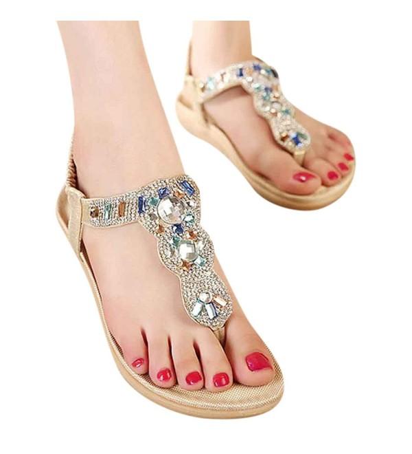 Wedding Sandals T Strap Elastic Rhinestones