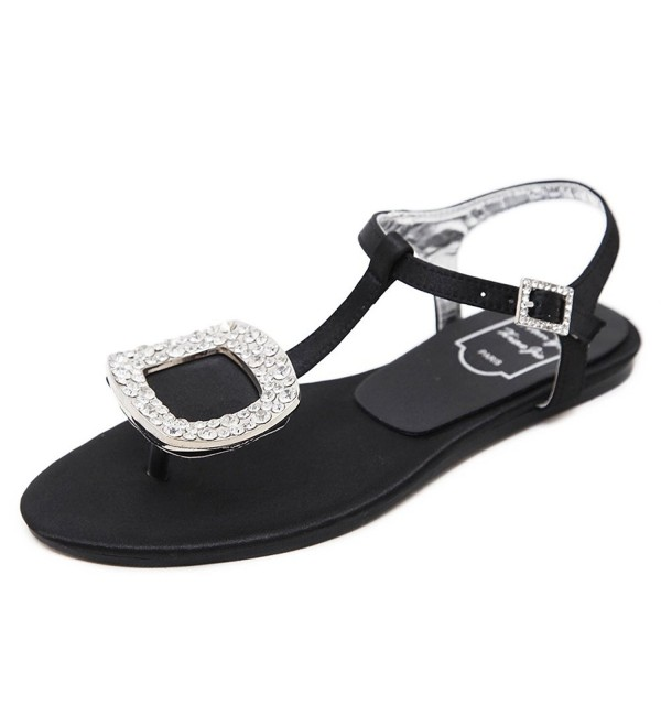 29031cfc080e Women Summer Flat Sandals Shoes Rhinestone Ankle Strap Flip-Flops ...