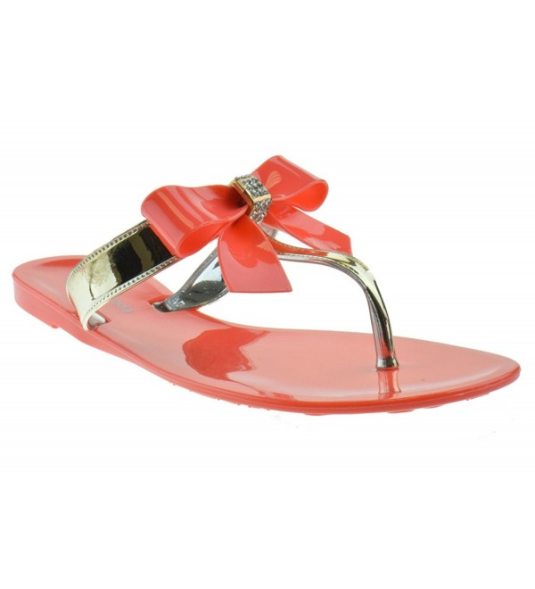 Jelly Rhinestone Comfort Sandals Coral