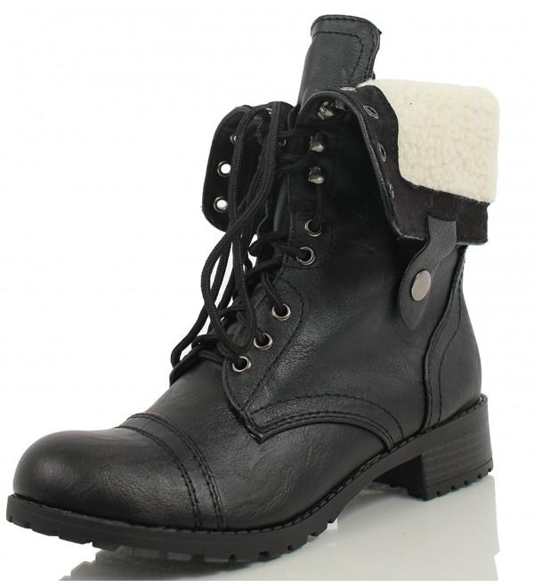 Soda Womens Combat Boots Beige